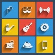 Set of 9 hipster web and mobile icons. Vector. — Stock Vector