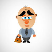 Vector cartoon businessman with a big bald head. — Vettoriale Stock