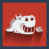 Funny white dragon in flat design on red. Vector. — Stock Vector