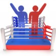 Two men on boxing ring. High resolution 3d render. — Stock Photo #35031459