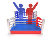 Dos hombres en el ring de boxeo. render 3d de alta resolución. — Foto de Stock