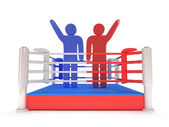 Two men on boxing ring. High resolution 3d render. — Stock Photo