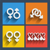 Set of 4 web and mobile gender icons. Vector. — Stock Vector
