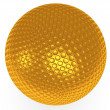 Stock Photo: Gold golf ball isolated on white. 3d render.