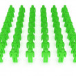 Group of stylized green people stand on white — Stock Photo #35950979