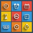 Set of 9 time web and mobile icons. Vector. — Stock vektor