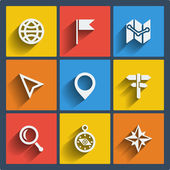 Set of 9 geo web and mobile icons. Vector. — Stock Vector