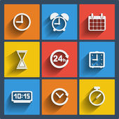 Set of 9 time web and mobile icons. Vector. — Stock Vector