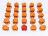 オレンジの家と反射と赤。3 d のレンダリング. — ストック写真