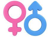 3d Иллюстрация признаков мужского и женского пола. — Стоковое фото