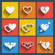 Set of 9 hearts web and mobile icons. Vector. — Stock Vector