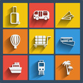 Set of 9 travel web and mobile icons. Vector. — Stock Vector