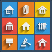 Set of 9 real estate web and mobile icons. Vector. — Stock Vector