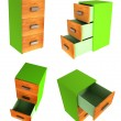Set of 3d cabinet with three drawers — Stock Photo