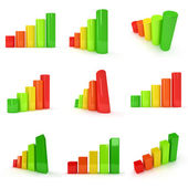 Set of 3d Colored bar graph — Stock Photo