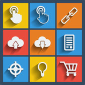 Set of 9 seo web and mobile icons. Vector. — Stock Vector
