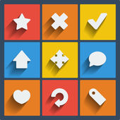 Set of 9 web and mobile icons. Vector. — Vettoriale Stock