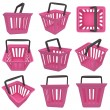 3D rendering of pink shopping basket. Set. — Stock Photo