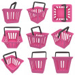 Stock Photo: 3D rendering of pink shopping basket. Set.
