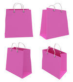 Set of four classic pink shopping bags. 3d. — 图库照片