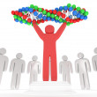 White people around red man with DNA chain. 3D. — Stock Photo #40399125