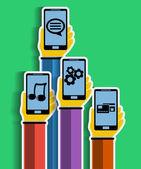 Mains avec les smartphones. concept d'applications mobiles. — Vecteur