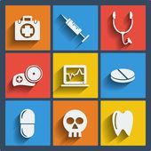 Sada 9 zdravotnické webové a mobilní ikon. vektor. — Stock vektor