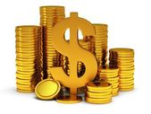 3D Dollar sign and golden coins on white — Stock Photo