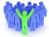 Group of stylized blue people with teamleader — Stockfoto
