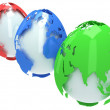 Earth planet globes like eggs. 3D render. — Stock Photo