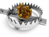 Metal animal trap with money isolated on white — Stock Photo