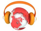Earth planet globe with headphone. 3D render. — Stock Photo