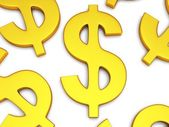 3D Dollar signs on white — Stock Photo
