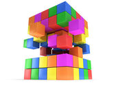 Cubes block. Assembling concept. On white. — Stock Photo