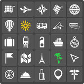 Set of 25 travel web and mobile icons. Vector. — Stock Vector