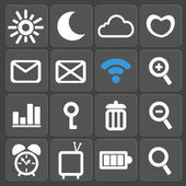 Set of 16 web and mobile icons. Vector. — Stock Vector
