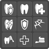Set of 9 dental web and mobile icons. Vector. — Vetor de Stock