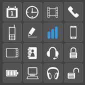 Conjunto de 16 ícones móveis e web. vector. — Vetor de Stock