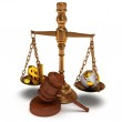 Scales justice with wooden gavel on white. Isolated 3D. — Stock Photo