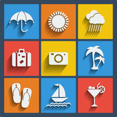 Set of 9 summer web and mobile icons. Vector. — Stock Vector