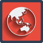 Aarde planeet globe web en mobile pictogram. vector. — Stockvector