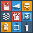 Set of 9 cinema web and mobile icons. Vector. — Vector de stock  #45368017