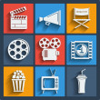 Set of 9 cinema web and mobile icons. Vector. — Stockvektor  #45368017