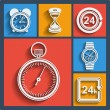 Set of 9 time web and mobile icons. Vector. — Stock Vector #45368049