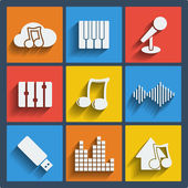 Set of 9 music web and mobile icons. Vector. — Stock Vector