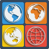 Set of 4 earth planet globe icons. Vector. — Stock Vector