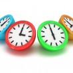 Four Round office clocks — Stock Photo #47221807