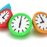Four Round office clocks — Stock Photo #47221811