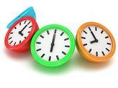 Cztery okrągłe zegary — Zdjęcie stockowe