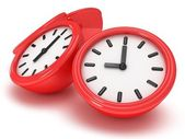 3D Round clocks shows different time — Stock Photo